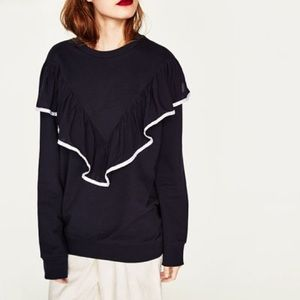 Zara Tops - Zara oversized sweatshirt with front frill