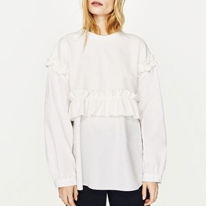 Zara contrast frilled top