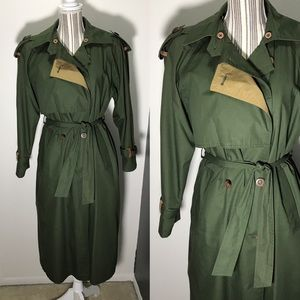 Green trench coat with wool lining
