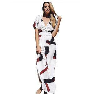 Abstract Print Maxi Dress with Matching Belt
