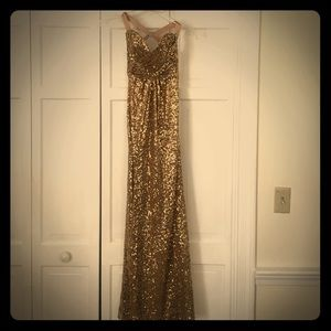 Gold sequin prom dress