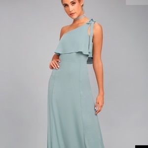Lulu's Dusty Sage Maxi Dress