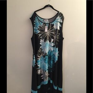 NWT - AVENUE maxi dress (teal, black and white)