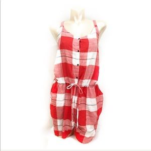 Old navy buffalo plaid red/white romper