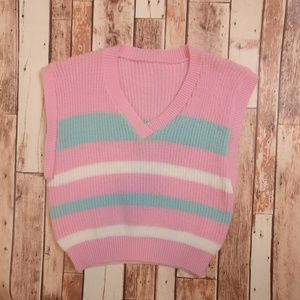 Jackets & Blazers - Vintage Knit Pink & Teal Sweater Vest