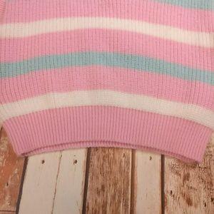 Jackets & Coats - Vintage Knit Pink & Teal Sweater Vest