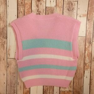 Jackets & Coats - Vintage Knit Pink & Teal Sweater Vest
