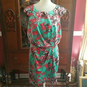 Jessica Simpson Green Pink Floral Dress 8
