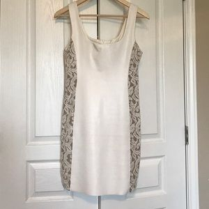 Bailey 44 white leather and lace dress