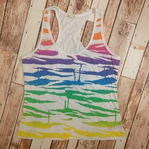 Forever 21 Rainbow Print Racer Back Tank Top