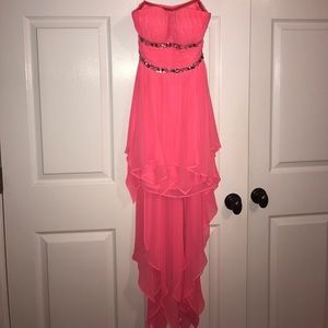High to Low Pink/Coral Evening Dress SIZE 1/2