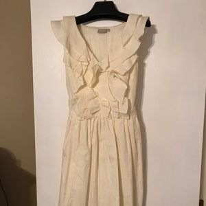 EShakti ruffle cream dress