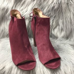 Halogen Warin Suede Open Toe Booties Back Tie