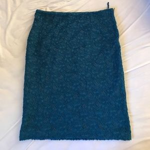 ANTHROPOLOGIE blue lace pencil skirt