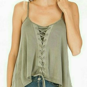 Tops - Olive Lace Up Tank Top