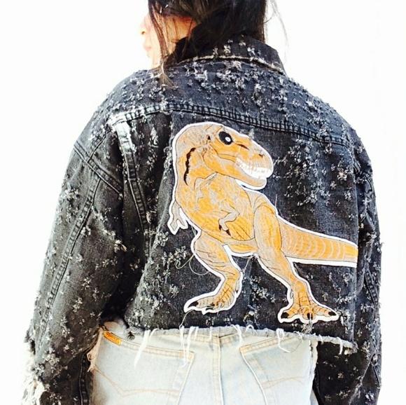 18a0d78e299 LF grunge megadistressed T Rex denim jacket