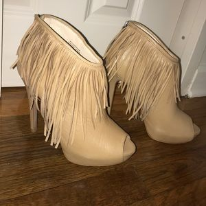 Beige fringed booties. Perfect for Fall!
