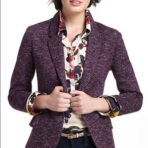 Anthropologie Cartonnier purple blazer