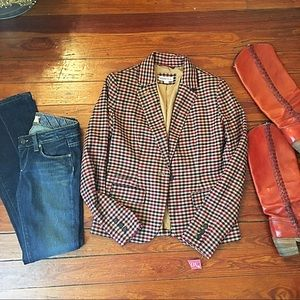 Nwt tan, navy & burgundy gingham blazer sz 2