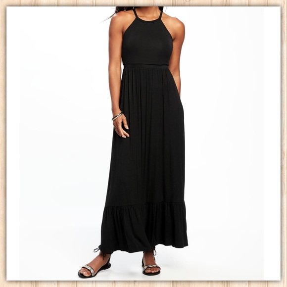 Old Navy Dresses Black Grecian Halter Maxi Dress Gap Poshmark