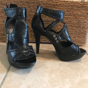 Chinese Laundry black zip back heels.