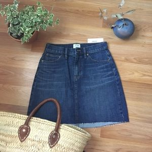 NWT J. Crew denim raw hem skirt