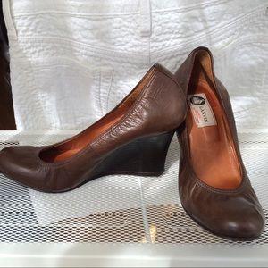 Lanvin brown leather round toe wedge pump sz 37