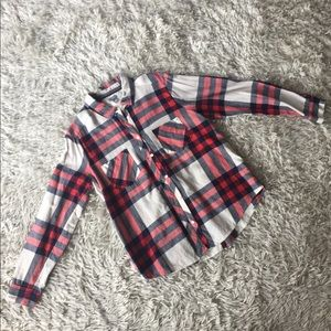 Flannel Button Down Red White and Blue