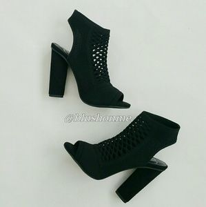 Shoes - Mesh Laser Cut Out Sling Back Peep Toe Heels