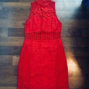 RED INTRICATE DRESS