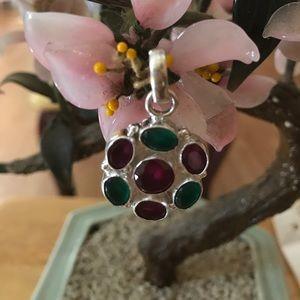 Vintage 925 natural ruby emerald pendent