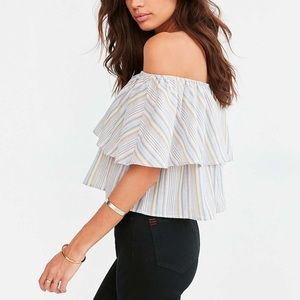 🍁Urban Outfitters Striped Off the Shoulder Top