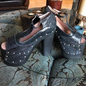 Jeffrey Campbell platform python studded shoes