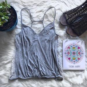 ✨Free People Faux Wrap Lace Side T strap Tank