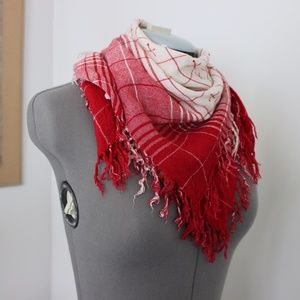 Vintage cream and red scarf