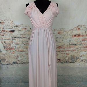 ASOS 4 Drape Cold Shoulder Blush Pink Maxi Dress