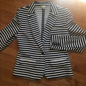Navy Blue and White Striped Blazer