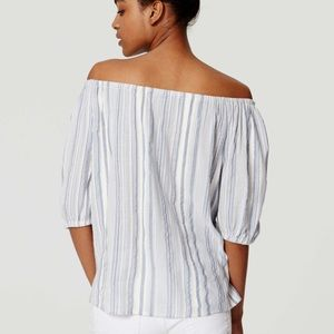 Pale Blue & White Striped Off the Shoulder Top