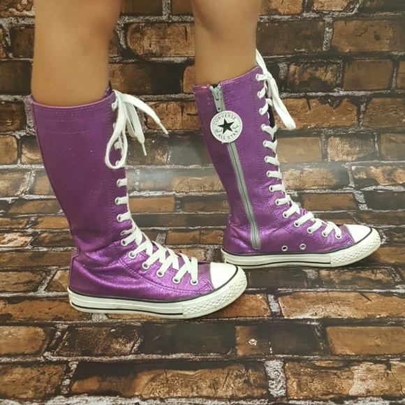 Converse Other - Purple sparkle knee high converse size 13 35b510f17
