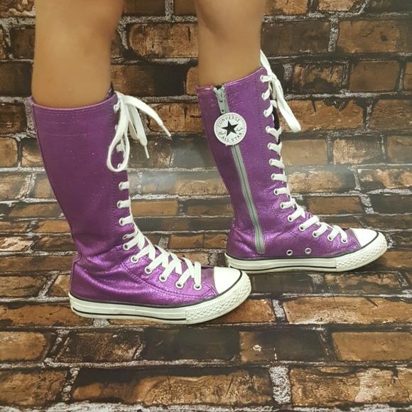 7d9d801dfb1cb Purple sparkle knee high converse size 13