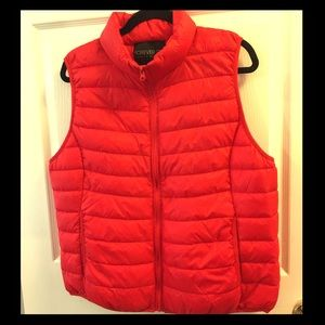 Bright Poppy Red Bubble Vest with Pockets 2X