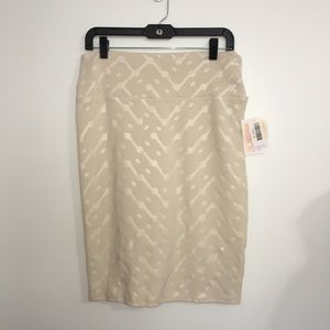 LuLaRoe Cassie Skirt sz M Solid Cream Textured NWT