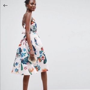 ASOS Tropical Ruffle Back Midi Dress