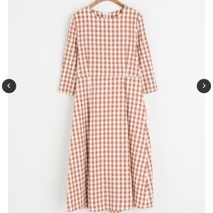 Gingham check 3/4 length sleeve dress- Nutmeg