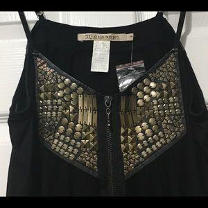 Monoreno black spaghetti strap tunic dress size M