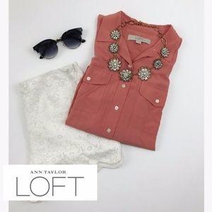 •loft• salmon rayon blouse