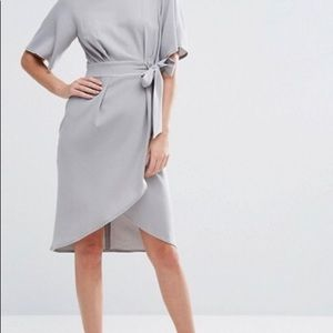 Closet London Tie Front Dress With Kimono Sleeve