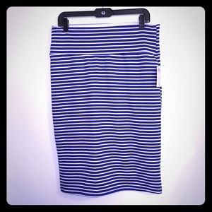 LuLaRoe Cassie Skirt Blue White Stripes sz XL NWT