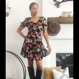80s VTG Fall Floral Dress
