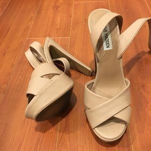 Nude Steve Madden ankle strap heels